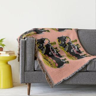 Noir d'art d'éléphant, jaune, couverture de jet de
