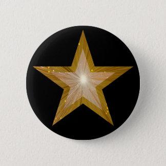 """Noir de bouton d'étoile de """"or"""" badge rond 5 cm"""
