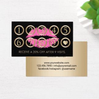 Noir de lèvres de maquilleur et fidélité roses de cartes de visite