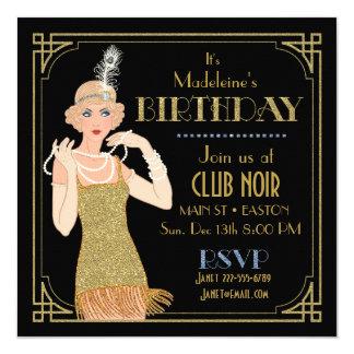 Noir de scintillement d'or d'aileron des années 20 carton d'invitation  13,33 cm