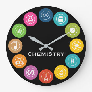 Noir de symboles de professeur de chimie grande horloge ronde