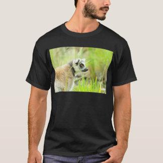 Noir de T-shirt - anneau de Lémur coupé la queue