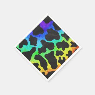 Noir de vache et copie d'arc-en-ciel serviette jetable