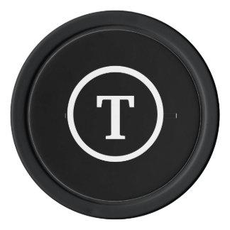 Noir décoré d'un monogramme jetons de poker