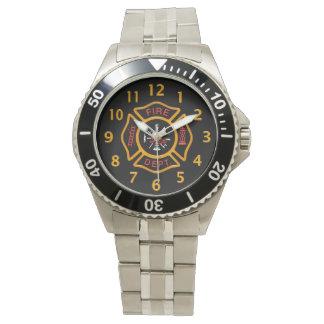 Noir d'insigne de corps de sapeurs-pompiers montres bracelet