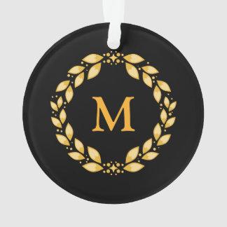 Noir d'or de monogramme de guirlande d'ornement de