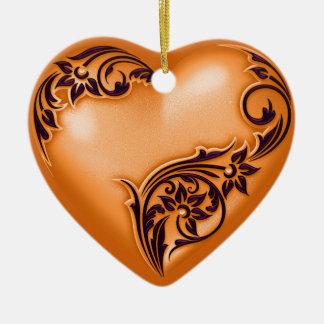 Noir du citrouille W de rouleau de coeur Ornement Cœur En Céramique