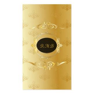 Noir élégant et cadre vintage de dentelle d'or carte de visite standard