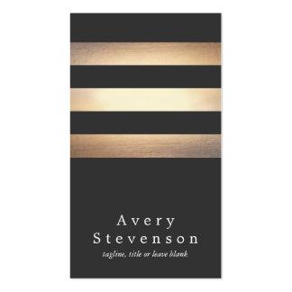 Noir élégant et moderne frais barré par or carte de visite standard
