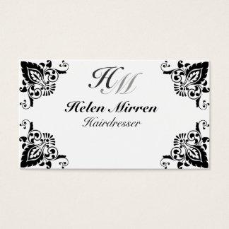 Noir élégant professionnel de monogramme floral cartes de visite