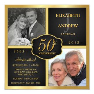 Noir et anniversaire de mariage d'or cinquantième carton d'invitation  13,33 cm