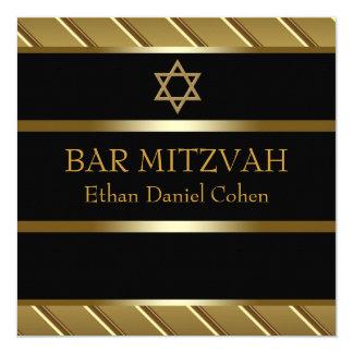 Noir et barre d'or Mitzvah Carton D'invitation 13,33 Cm