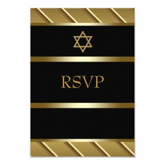 Noir et barre d'or Mitzvah RSVP Carton D'invitation 8,89 Cm X 12,70 Cm