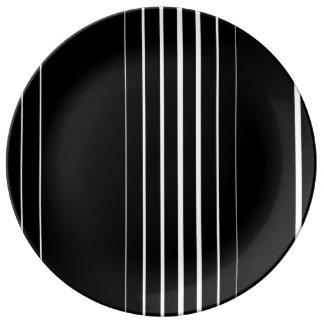 """Noir et blanc 10,75"""" plat décoratif de porcelaine assiette en porcelaine"""