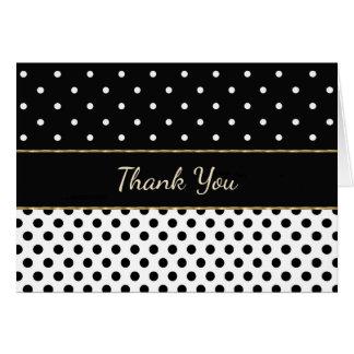Noir et blanc avec le carte de remerciements