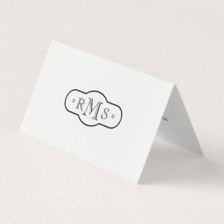 Noir et blanc décoré d'un monogramme de police carte de visite
