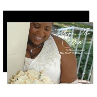 Noir et blanc - faites gagner la date - épouser #3 carton d'invitation  12,7 cm x 17,78 cm
