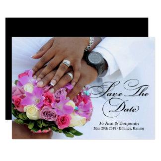 Noir et blanc - faites gagner la date - épouser carton d'invitation  12,7 cm x 17,78 cm