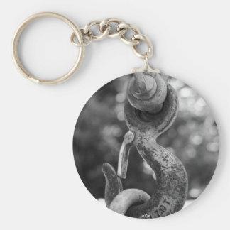 Noir et blanc verrouillé porte-clé rond