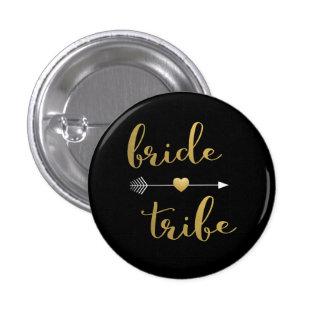 Noir et bouton de demoiselle d'honneur de tribu de badge rond 2,50 cm