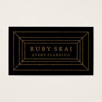 Noir et carte de visite chic de pierre gemme d'or
