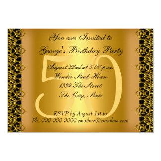 Noir et cinquantième fête d'anniversaire d'or carton d'invitation  12,7 cm x 17,78 cm