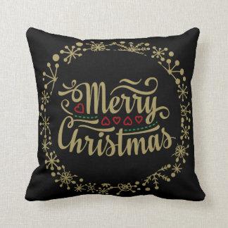 Noir et coussin de flocon de neige de Joyeux Noël