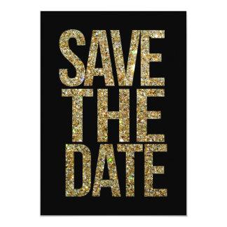 Noir et économies de scintillement d'or la carton d'invitation  12,7 cm x 17,78 cm