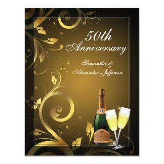 Noir et fête d'anniversaire de coutume carton d'invitation 10,79 cm x 13,97 cm