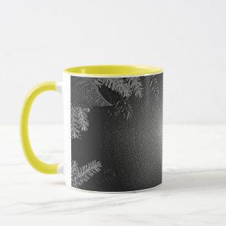 Noir et gris de poinsettia de Noël Mug