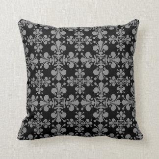 Noir et gris gothiques élégants de damassé de oreiller