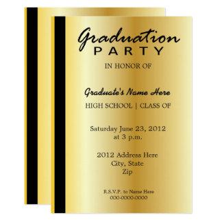 Noir et invitation d'obtention du diplôme d'or
