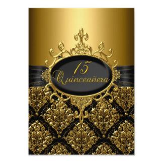 Noir et invitation élégants de Quinceanera de