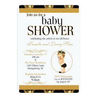 Noir et invitation royale de prince baby shower