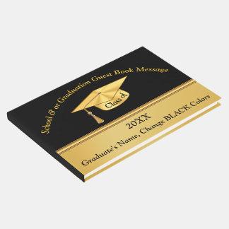 Noir et livre d'invité personnalisé par or