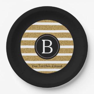 Noir et monogramme de scintillement d'or assiettes en papier
