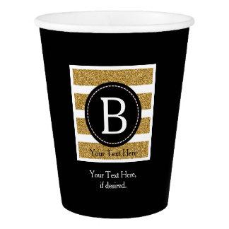 Noir et monogramme de scintillement d'or gobelets en papier