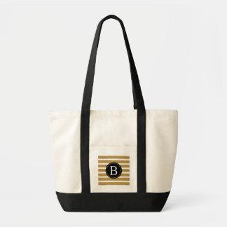 Noir et monogramme de scintillement d'or sac en toile impulse