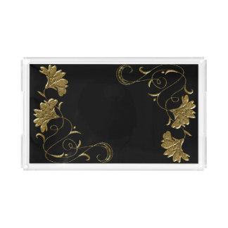 Noir et plateau de pochoir de fleur d'or
