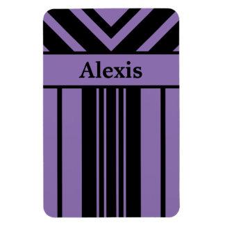 Noir et pourpre barre des chevrons avec votre nom magnet flexible
