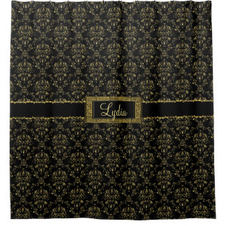 Noir et rideau en douche personnalisé par damassé