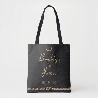 Noir et sacs nautiques de cadeau de mariage d'or