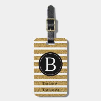 Noir et scintillement d'or (choisissez la couleur étiquettes bagages