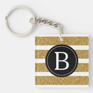 Noir et scintillement d'or (choisissez la couleur porte-clé carré en acrylique double face