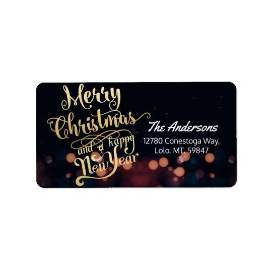 Noir et typographie de Noël et de bonne année d'or Étiquette D'adresse