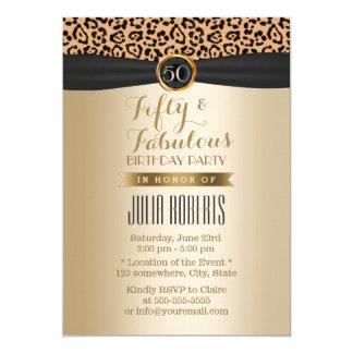 Noir fabuleux et or de Moden de léopard de 50 Carton D'invitation 12,7 Cm X 17,78 Cm