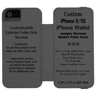 NOIR fait sur commande de caisse de folio de Coque-portefeuille iPhone 5 Incipio Watson™