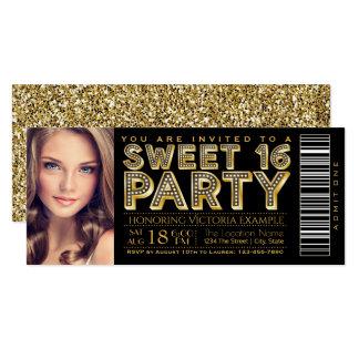 Noir fascinant et or de billet du bonbon 16 de carton d'invitation  10,16 cm x 23,49 cm