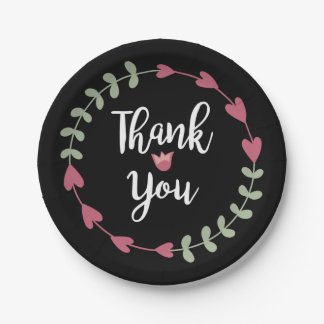Noir floral de Merci, coeurs roses, guirlande Assiettes En Papier