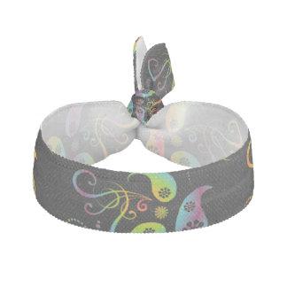 Noir floral de Paisley d'arc-en-ciel Élastique Pour Cheveux